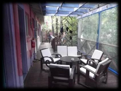 Außenterasse unseres Zimmers im Hostel, Noosa